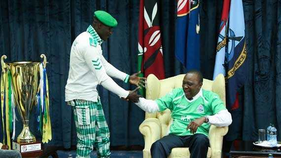 K'Ogalo fan Jaro Soja was appointed manager of  SSMB by President Uhuru Kenyatta after the champions visited State House on Friday. (Image: Courtesy)