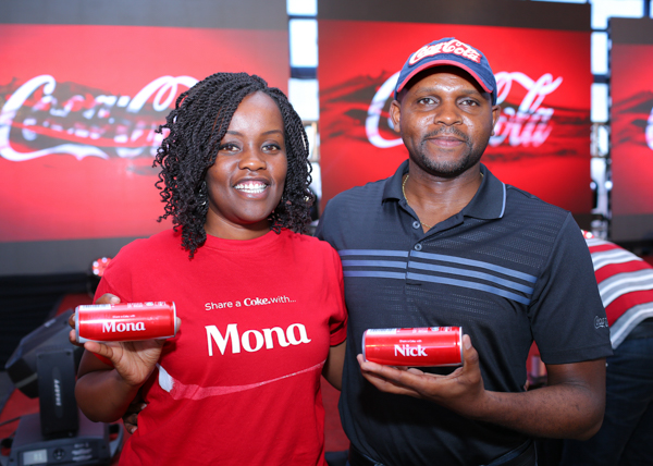 Mona Karingi the Coca-cola Marketing Manager and Nick Mruttu the Coca-Cola Country Manager. (PIX: Japheth Kagondu).